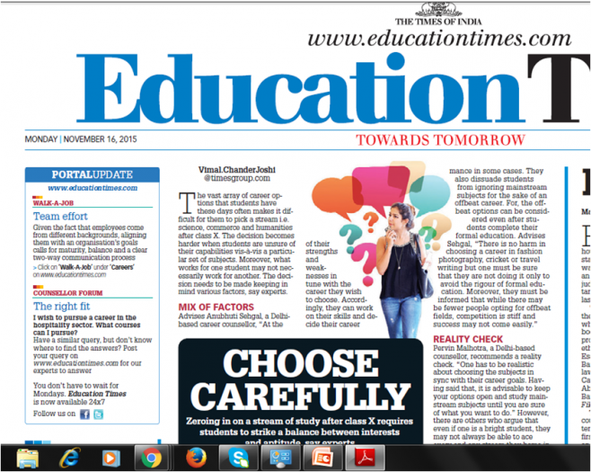 Choosing careers carefully: Dr Anubhuti Sehgal Education Times Times of India 16th Nov 2015